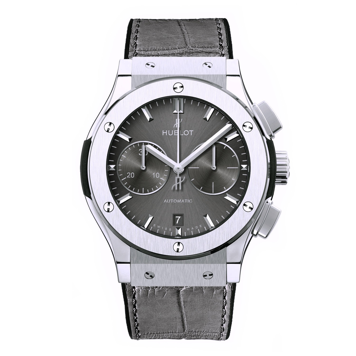Hublot Silver Black Watch